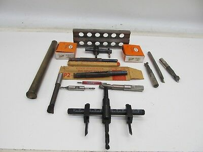 Lot Of Machinist Metal Working Tools - Punches Taps End Mills Boring Bar Drift