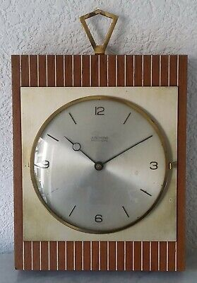 Kitchen Clock Wall Junghans Electro-Gong Made in Germany Wooden Housing Brass