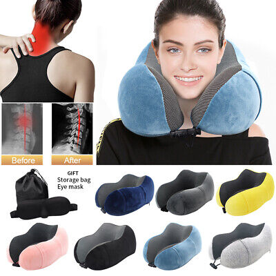 U-Shaped Memory Foam Rebound Travel Pillow Neck Support Airplane Head Rest Soft