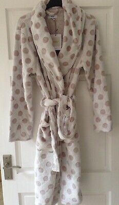 John Lewis Supersoft Fleece Spot Taupe Robe Dressing Gown. Small-New