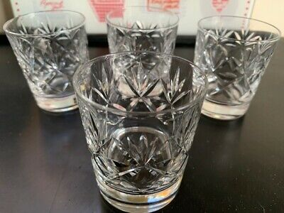 Royal Doulton, Waterford or Tyrone Crystal cut whiskey glasses in set of 4