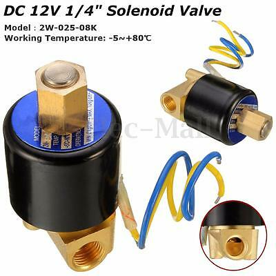 """1/4"""" 2 Way Electric Solenoid Valve DC 12V Air Gas Fuel Brass Normally Open  ! #&"""