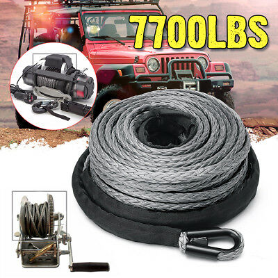 "1/4"" x 50' 7700LBs Synthetic Winch Line Cable Rope with Sheath ATV UTV Gray   !%"