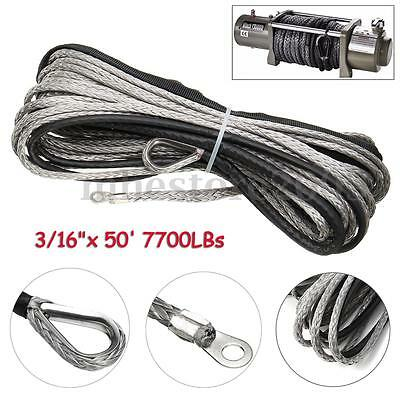 3/16 x 50 Inch 7700LBS Synthetic Winch Line Cable Rope with Sheath ATV UTV  !%