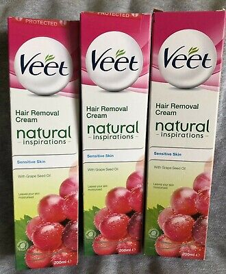 3 x VEET Natural Inspirations Hair removal Cream Sensitive Skin Grape Seed 200ml