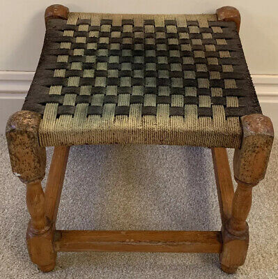Vintage Retro Small Wood Frame Woven  Foot Stool Children's Seat