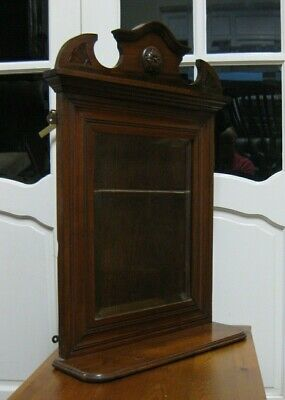 Victorian Mahogany Carved Wall Mirror with Shelf