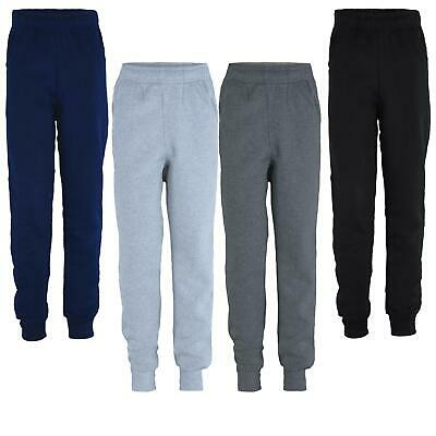 Kids Plain Trousers Girls Basic Bottoms Inner Fleece Trousers Boys Joggers 5-14Y