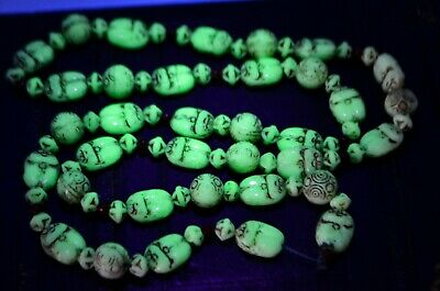 NEIGER BROS Art Deco Pressed Czech SCARAB Uranium Glass BEADS - Restring Project