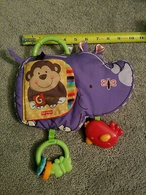 Fisher Price Baby Kid Child Stroller Hanging Soft Plush Rhino Toy