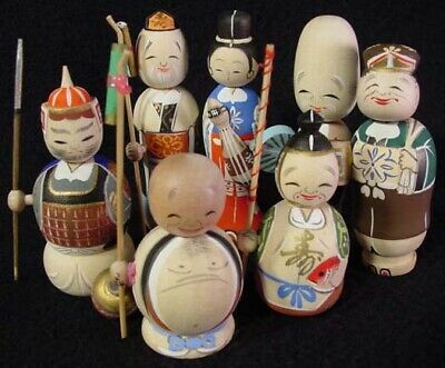 RARE 7 Lucky Gods Nodder Kokeshi Doll Set Fine Detail Old Stock 1960's Mint