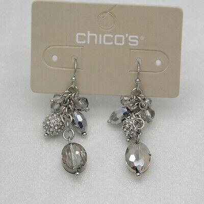 Chico's jewelry unique silver plated cut crystals ball hoop drop dangle earrings
