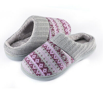 Ladies Wool Plush Knit Memory Foam Slipper Striped Slip-on Round Toe Slippers