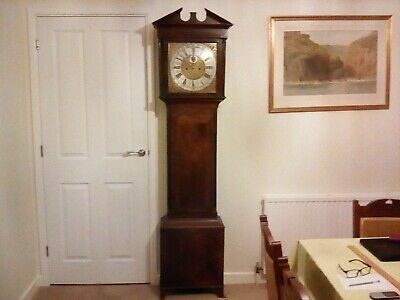 Antique 8 Day Mahogany Case, Brass Dial Long Case / Grandfather Clock.