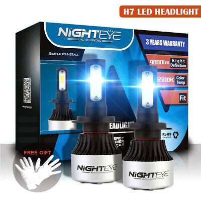 Nighteye Voiture H7 LED Conversion Phare KIT 9000LM 6500K Ampoules Blanc HID COB