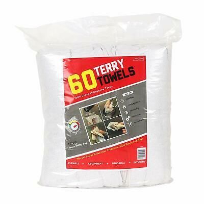 Bulk 60 Pack of Terry Towels - All Purpose Cleaning Grade Rags - 14 x 17 White