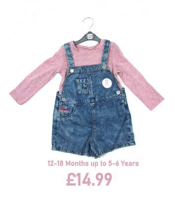 2 Piece Girls Denim Rainbow Bee Dungaree Shorts & Pink Top | 12-18 2 3 4 5