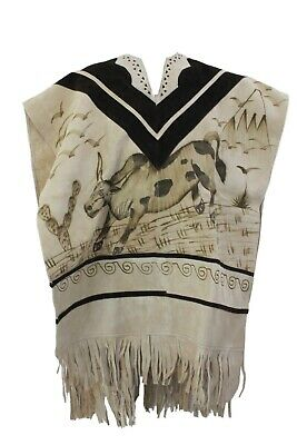 Mexican Leather Poncho Western Chamois Unisex  - Brahma Bull