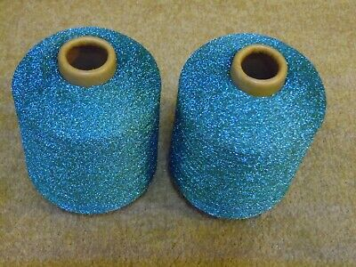 TWO CONES MACHINE KNITTING YARN JADE GREEN LUREX APPROX 950g VISCOSE/POLYESTER