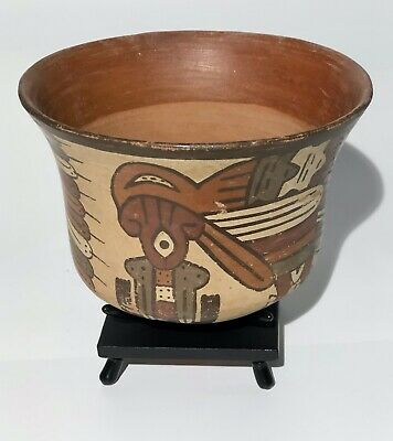 "Pre Columbian - Exhibited Nazca Polychrome ""Horrible Bird"" Bowl"