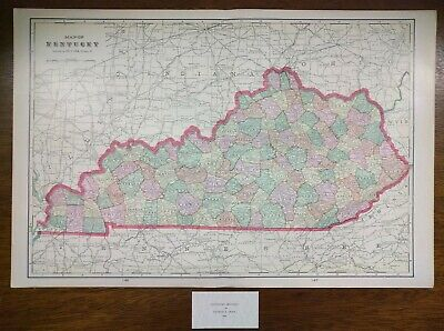 "Vintage 1900 KENTUCKY Map 22""x14"" ~ Old Antique Original GREENVILLE PRINCETON"