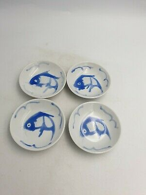 Chinese Porcelain Blue & White Small Dipping Sauce Dishes Koi Carp Fish 4PC Set