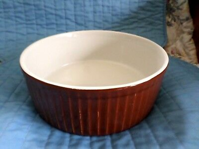 """Vintage Hall China 8 1/2"""" Brown Ribbed Casserole/ Souffle Baking Dish - Nice!"""