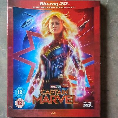 Captain Marvel Blu-ray 3D & 2D (2-Disc Set, Sleeve, 2019) SEALED