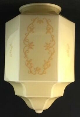 Art Deco Stepped Skyscraper Cream With Gold Pattern Glass Light Lamp Shade