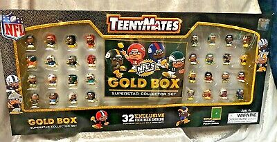 TeenyMates NFL GOLD BOX 32 Exclusive Figures W/ Metallic Gold Highlights -2019