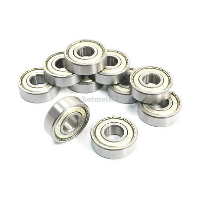 H● 10 Pcs 6201Z 12x32x10mm Shielded Deep Groove Radial Ball Bearings