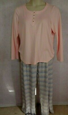 Charter Club Womens Pajamas Set Long Sleeve Pink & Stripes Size L