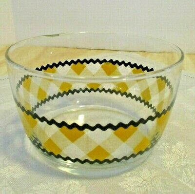 Vtg Glass Cereal Bowl Yellow/Orange Gingham Pattern with Black