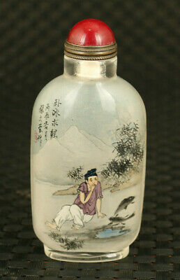 Chinese old glass hand painting fish figure statue snuff bottle noble gift
