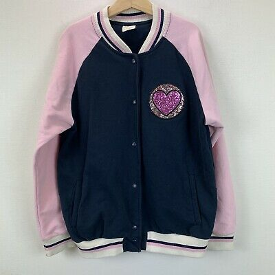 Zara Girls Bomber Jacket Glitter Heart Patch Fly Away to the Stars Size 11-12