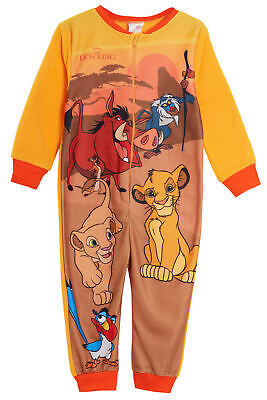 Disney The Lion King Boys Girls Fleece All In One Pyjamas Kids Sleepsuit Onezee