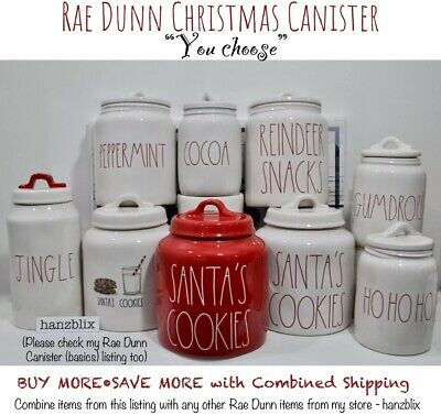 "Rae Dunn Canister SANTA'S COOKIES COCOA REINDEER SNACKS Christmas ""U CHOOSE"" '19"