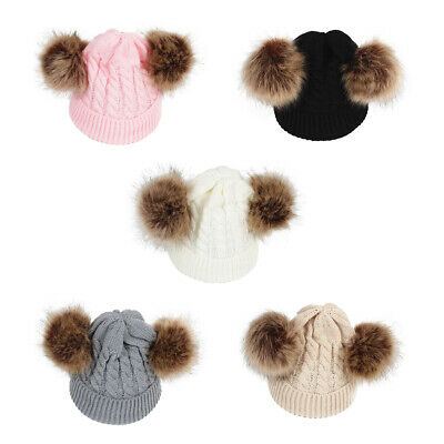 Baby Infant Girls Boys Knit Winter Warm Wool Pom Pom Bobble Hat Beanie Cap AU