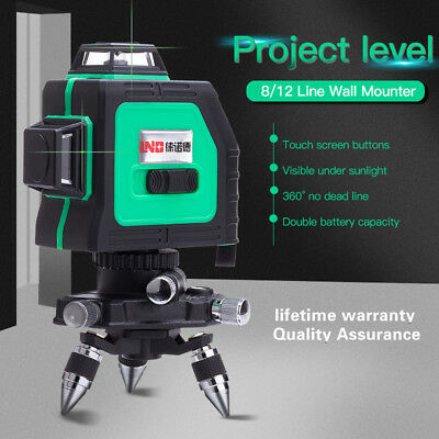 Green Laser Level Self Leveling 12 Lines 360 Degree Horizontal&Vertical Cross