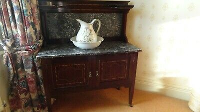 Antique Mahogany Victorian Wash Stand With Marble Top and Marble Splash Back