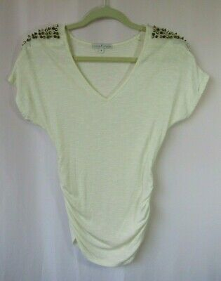 MOA MOA Womens Size S Ivory Ruched Sides Spiked Shoulders Knit Top Blouse Shirt