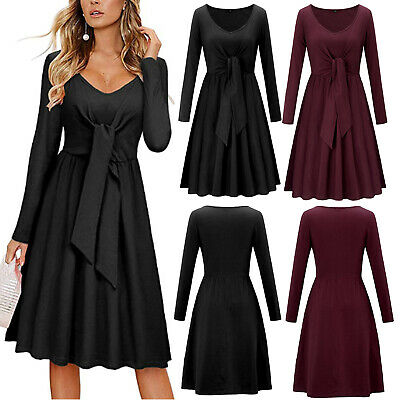 Elegant V Neck Ruffle Casual Dress Great for Winter &Autumn with Pocket 4 Colors
