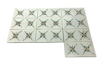 White Subway Tiles with Painted Floral Detail