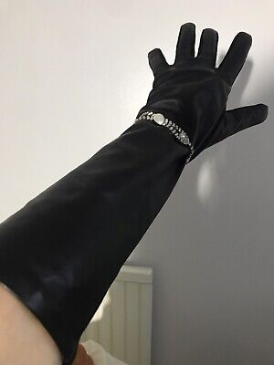 VINTAGE STYLE LADIES Black Leather/ Fabric Long Gloves By Alexander Bartlett