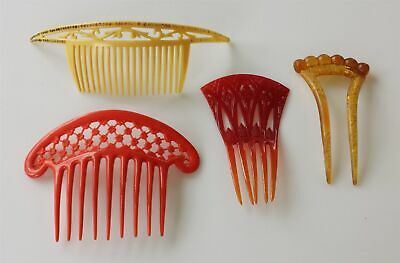 LOT antique 4pc ART DECO HAIR COMBS butterscotch red yellow