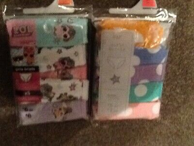 2 X  5 Packs Girls Briefs. loL And Spotty.new.6/7 Years