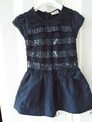 Next girls sequin sparkle dress navy christmas party  4-5 yrs great condition