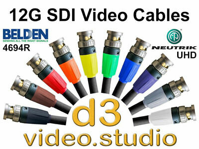 12G UlHD 4K HD SDI Digital Video Cable with Belden 4694R & Neutrik UHD BNC Plugs