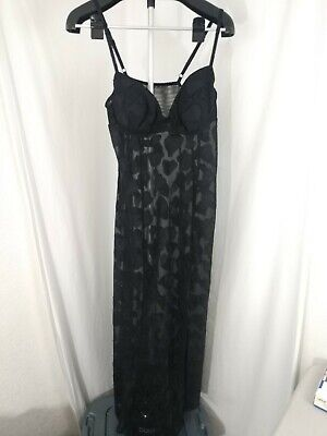 VIntage Fredericks of Hollywood Long Black Sheer Heart Nighty with Panties