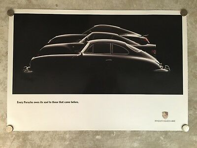 Porsche Historical Showroom Advertising Sales Poster RARE!! Awesome L@@K VG+